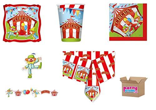 Party placemat van papier met circusmotief, recyclebaar, 24 borden, 24 bekers, 40 servetten, 1 tafelkleed, 1 slinger.