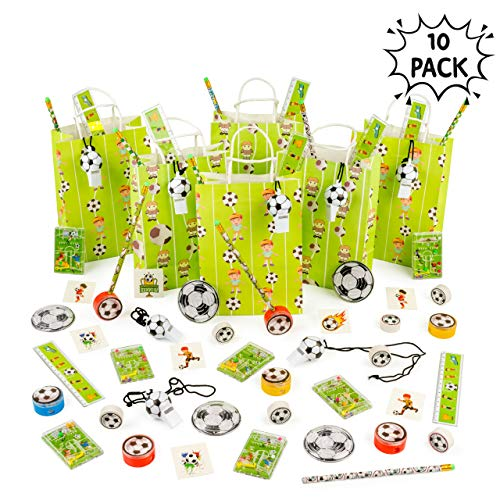 Bolsa de Fiesta de Fútbol con rellenos - Paquetes múltiples (Paquete de 10) - Ideal para favores de fiesta, ideas únicas de regalo de juguete de relleno de fiesta.
