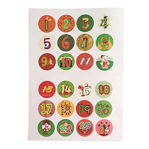 120 Pcs Christmas Number Sticker 1-24 Advent Calendar Number Stickers DIY Gifts Labels Cookies Candy Sealing Sticker, Baking Decoration Package Label, for Making and Filling, 32mm