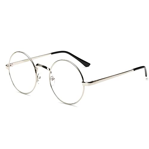 2d7b2ee6e9a Unisex Retro Glasses Round Metal Frame Clear lens Sunglasses Vintage Geek  Eyeglasses