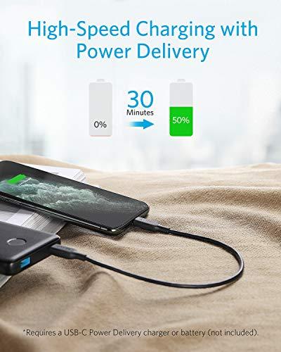 Anker Powerline III USB-C auf Lightning Kabel,MFi-zertifiziertes Kabel 30cm,blitzschnelle Ladegeschwindigkeiten für iPhone SE/11/11 Pro/X/XR Max/8 Plus/AirPods Pro,unterstützt Power Delivery(Schwarz)
