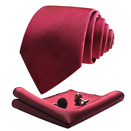 CANERON corbata extralarga burdeos para hombre 160 cm de largo con corbata con bolsillo cuadrado Gemelos Caja de regalo ELCLJH