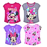 Disney Girl's Minnie Mouse 4 Pack Short Sleeves Tee Shirt Set, Fashionable Bundle for Kids, Size 3T Purple