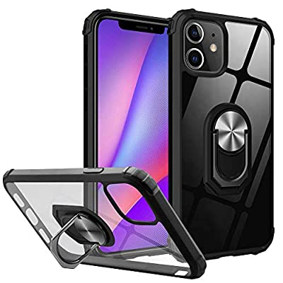 Yayoii Compatible with iPhone 11 Case, Military Grade Fully Protection with Rotating Holder Kickstand, 4 Corners Shockproof Bumper Cover, Anti-Yellowing Scratch-Resistant, 6.1 inch