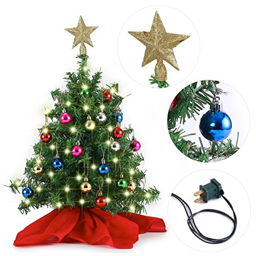 20' Tabletop Mini Christmas Tree Set with Clear LED Lights, Star Treetop and Ornaments, Best DIY Christmas Decorations