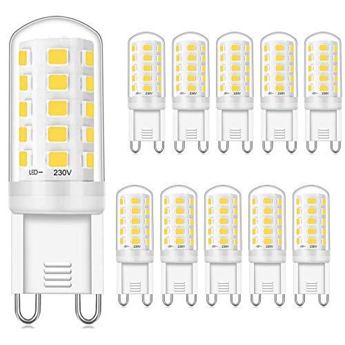 Ampoules LED G9, Blanc Naturel 4000K, , 3W équivalent à 40W, CRI> 85, 430LM, AC 220V – 240V, Pas de Scintillement, Lot de 10, Viaus