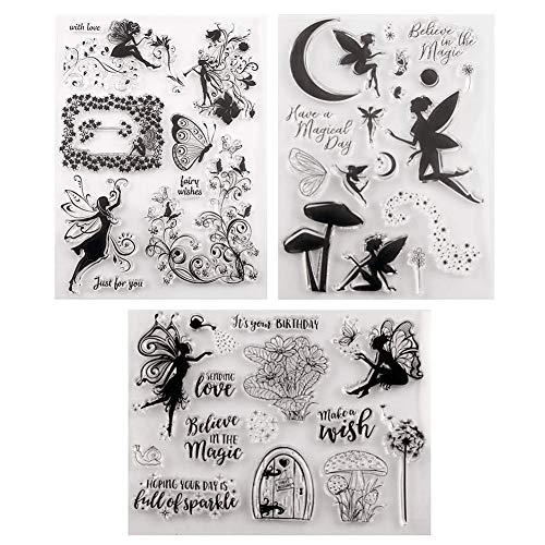 Tikkii 3-Pack Fairy Clear Stamps for Card Making and Scrapbooking