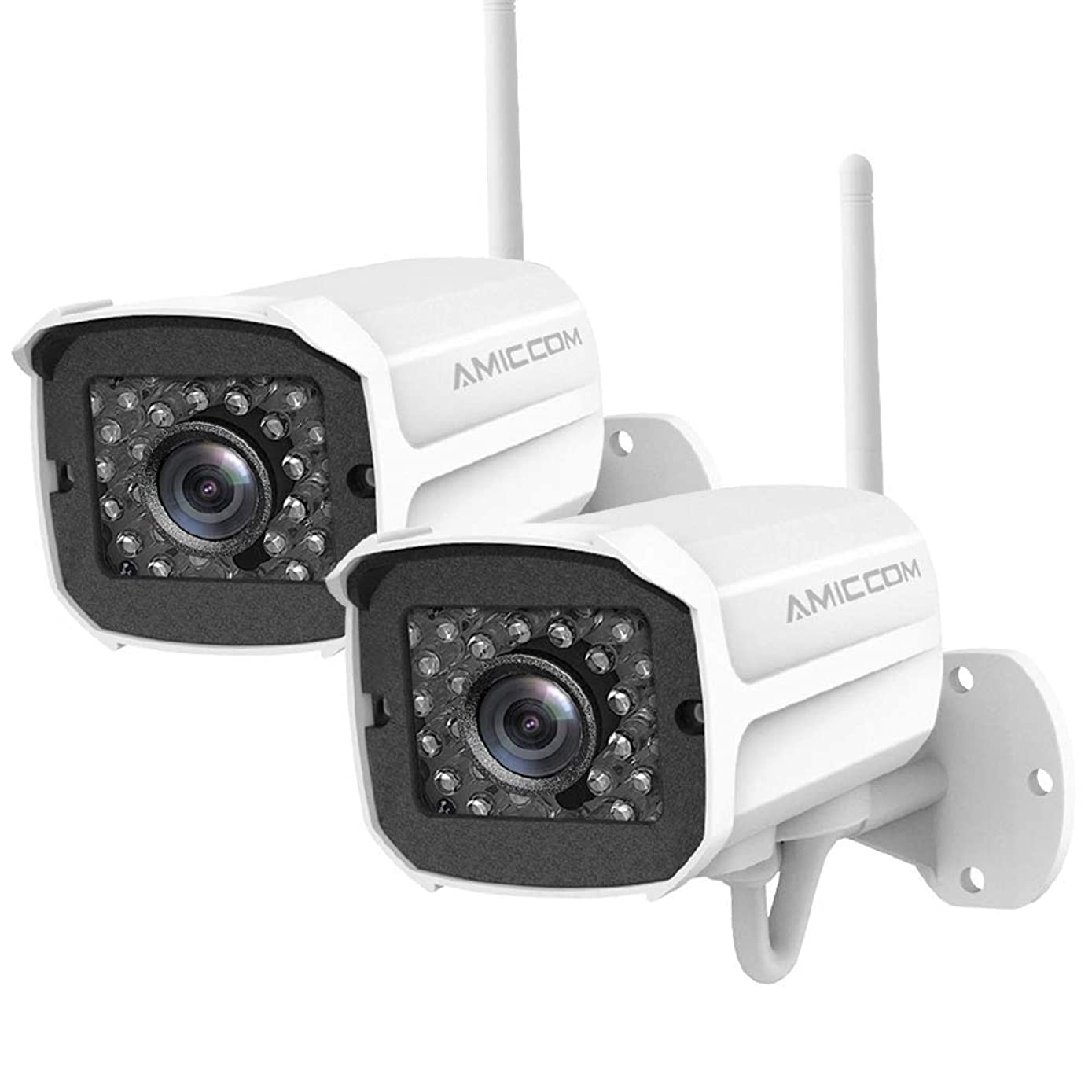 Outdoor Security Camera (2 Pack), 1080p IP Cam 2.4G IP66 Waterproof Night Vision Surveillance System with Two-Way Audio, Motion Detection, Activity Alert, Deterrent Alarm - iOS, Android App
