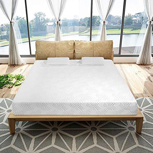 PLOLLD 10 Pulgadas de colchón Queen y 2 Cojines de Espuma viscoelástica Tradicional Firma de Alta suavidad del colchón de algodón (Size : Queen)