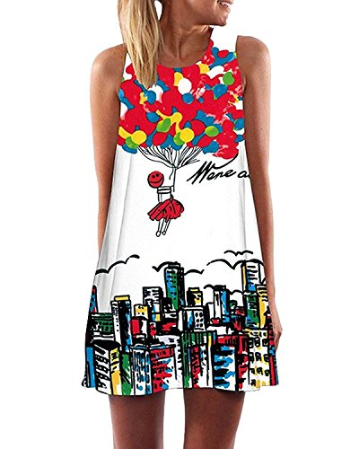 Minetom Mujer Mini Vestido Moda Atractiva Dress Cuello Redondo Sin Tirantes Dress Guay Verano Sin Mangas Beachwear Playa Chaleco Impreso Preciosos Hermoso