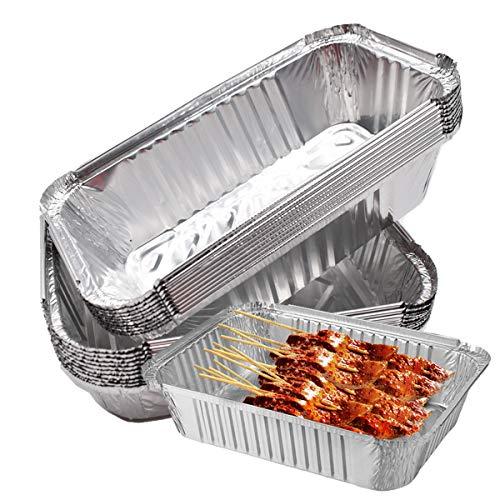 Liwein Aluschalen mit Deckel,20 Aluminium Schalen Tropfschalen Einweg Pfannen Große Hochleistungs Grillschalen Aluminiumfolien Boxen für Backen Kochen Gefrieren Lagern