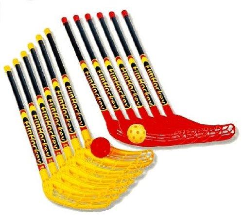 Bandito FunHockey/Feldhockey Schlägerset, 12 Schläger und 12 Bälle, wetterfest, auf jedem Untergrund spielbar, Kinder und Jugendliche, für Schul-Teamsport