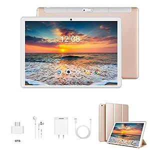 Tablet 10 Pulgadas 4G Full HD 3GB de RAM 32GB/128GB de ROM Android 9.0 Certificado por Google GMS Quad Core Tableta Batería de 8500mAh Dual SIM 8MP Cámara Tablet PC Netfilx WiFi Bluetooth OTG(Oro