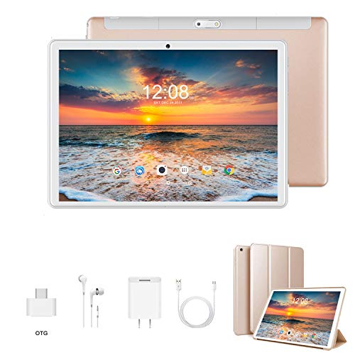 Tablet 10 Pulgadas 4G Full HD 3GB de RAM 32GB/128GB de ROM Android 9.0 Certificado por Google GMS Quad Core Tableta Batería de 8500mAh Dual SIM 8MP Cámara Tablet PC Netfilx WiFi Bluetooth OTG(Oro