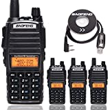 4 Pack BAOFENG UV-82 Plus 8 Watts Tri-Power 8W/4W/1W Radio Powerful Dual Band VHF/UHF 136-174/400-520MHz Ham Amateur Portable Two Way Radio+1 Pack USB Programming Cable