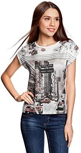 oodji Ultra Mujer Camiseta Estampada de Tejido Combinado