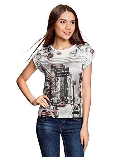 oodji Ultra Mujer Camiseta Estampada de Tejido Combinado, Blanco, ES 44 / XL