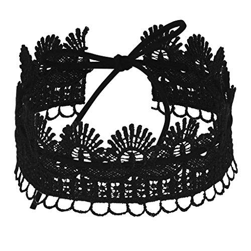 Daesar Joyería Mujer Joven Gargantilla Acero Inoxidable Largo Elástico Encaje Terciopelo Velvet Lazo Negro Choker Necklace Cadena 73.5CM