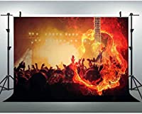 NEW JSCTWCL10x7ft背景燃えるようなギター写真背景音楽パーティー写真撮影小道具プロムテーマBirtNEWJSCTWCLayパーティー背景070