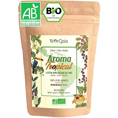 BIORGAIA - CAFE GRAIN BIO - Café en Grains 1kg, 100% Arabica [Bresil, Mexique, Perou] Produit Issu de l'Agriculture Biologique Certifié par FR-BIO-09