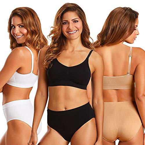 Tristar Products Inc Comfi Dream Bra; Black, Nude, White:Seamless Wireless Comfort Bra with Insta Cool Cooling Bra Technology (3 Pack XL)