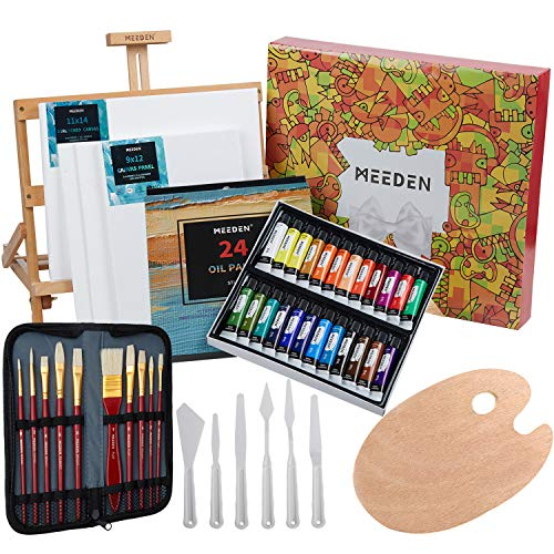 MEEDEN 46 Pcs Oil Painting Set with Beech Wood Tabletop Easel,12MLX24Oil Paint Tubes with Paint Brushes Set,Palette Knife Set with Wood Palette Tray,Perfect for Beginning Artists, Students and Kids