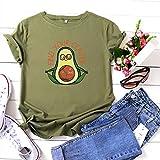 Rugby clothing boutique Q Grande Taille Yoga Shirt Avocat en Coton imprimé à Manches Courtes T-Shirt de Femmes, 100% Coton (Color : Brown, Size : 5XL)