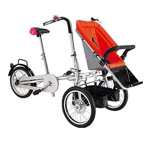 ALOOVOO Bici Simili Passeggini per Bici Gemelli per Bambini e Neonati Passeggini per Biciclette Gemelli per Bambini e Neonati Carrello Pieghevole per Bambini,Red