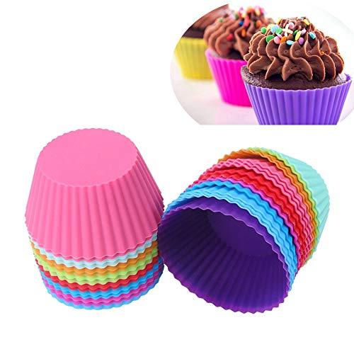 JUNGEN 24 Pcs Moule En Silicone 6 Couleurs 7cm Pour Muffins Cupcak Gâteau Rond Et Gelée Chocolat Funfetti