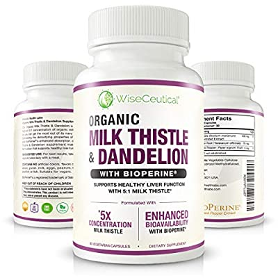 Max Absorption Organic Milk Thistle (Strongest 5:1 Concentrated Extract) & Organic Dandelion Root with BioPerine | Hangover Prevention & Relief - Liver Support and Alcohol Detox. 60 Veggie Capsules. by Wiseceutical