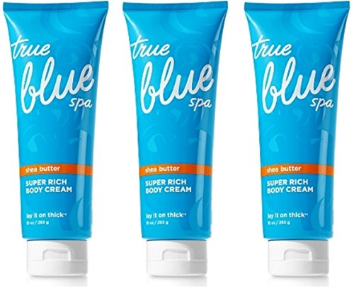 Lot of 3 Bath and Body Works True Blue Spa Lay It On Thick Super Rich Body Creams 10 Ounce (283 Gram) Each