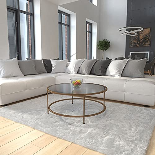 Flash Furniture Glass Coffee Occasional Tables, 35.25'W x 35.25'D x 15.25'H, Clear/Matte Gold