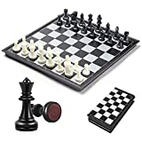 M.Q.L. Small Chess Board Set Game, Magnetic Chess Pieces and Foldable Board, Traditional Tactical Strategy Game, Portable Travel Set for Kids/Children/Adult - 25x25x2cm