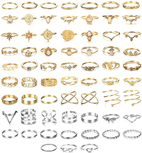 CASSIECA 66Pcs Ring Set for Women Bohemian Knuckle Rings Vintage Stackable Finger Rings Midi Rings Thumb Joint Rings Fashion Opal Hollow Carved Flowers Gold&Silver