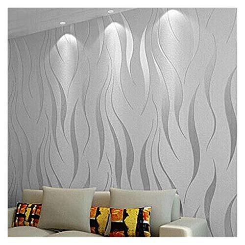HYCSP Moderne abstrakte geometrische Tapete Rolle for Zimmer Schlafzimmer Wohnzimmer Wohnkultur Geprägte Wand-Papier, Grau, Beige, Weiß, Lila (Color : WP23801 Silver Grey, Size : 10mx53cm)