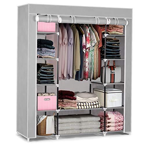 Massido Mobiler Textil Kleiderschrank Stoffschrank Faltschrank Textilschrank Gaderobe XXL (Hellgrau)