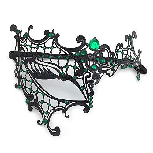 WBCAGN Maskerade Metall Diamond eisernen Maske Halloween Maske einäugige Halbe Gesicht schwarz eisernen Maske Partei Requisiten,f