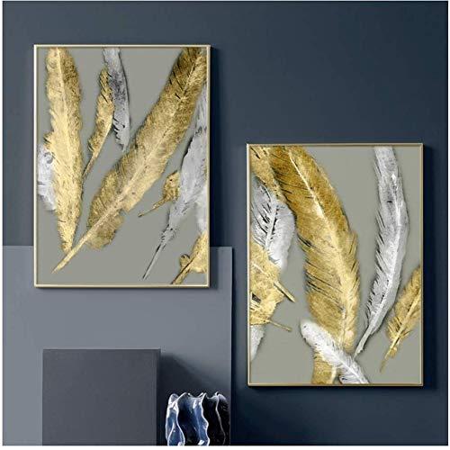 Surfilter Print auf Leinwand Abstrakte Federmalerei Goldene Wandkunst Leinwandmalerei Poster Druckt Bilder für Wohnzimmer Dekor 19.6& rdquo; x 27.5& rdquo; (50x70cm) x2 No Frame