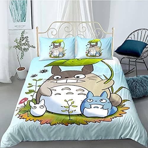 Kiusad Kids Totoro Bedding Sets for Boys Girls Twin Size 2 Pieces My Neighbor Totoro Duvet Cover Bed Set 3D Cartoon Anime Comforter Set