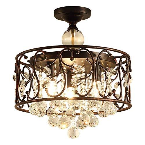 BUNUMO Lámpara Colgante de Cristal Redonda Luz de Techo Vintage Industrial Negro Retro Hierro Colgante 3 Llamas Lámpara de Techo Antigua