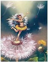 Diyダイヤモンド絵画漫画エルフタンポポ手作りダイヤモンド刺繡5dラウンドドリルモザイク結婚式の装飾40x50cm