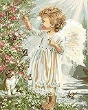 Cuadro Lienzo Pintura por Numeros Adultos Niños - Manualidades para Pintar DIY Pintura Al Óleo - Ángel Bebé Gato Mariposa Flores Jardín