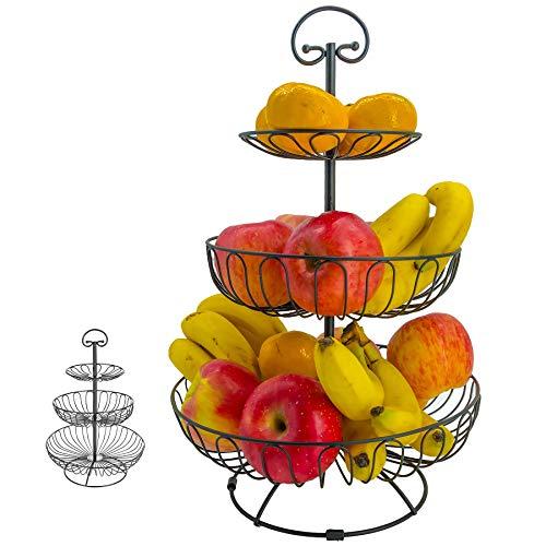 KLEVERISE 3 Tier Fruit Basket Metal Fruit Bowl Wrought Iron Fruit Stand Holder Countertop Serving Basket Storage for Kitchen Countertop Party Wedding Vegetable Snack Bread Cupcake Holder, Black