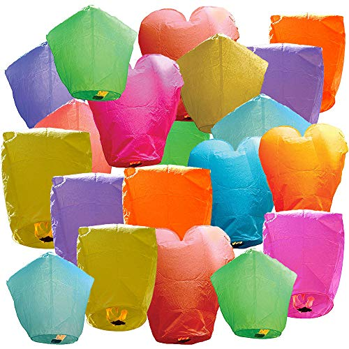 Just Artifacts 20 Eco Wire-free Assorted Chinese Flying Sky Lanterns (20-Pack,...