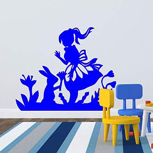 yaoxingfu Alice Und Das Kaninchen Wandaufkleber Abnehmbare PVC Haushaltswaren Wandtattoo Für Kinder Kindergarten Mädchen Bedro ww-4 42x53 cm