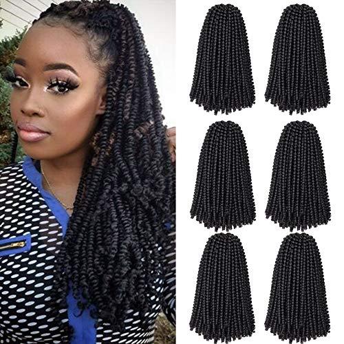 6 Packs Spring Twist Braiding Hair Ombre Spring Twists Bomb Twist Hair Synthetic Fiber Fluffy Twist Crochet Braids Low Temperature Kanekalon Crochet Hair for Black Women Braiding Hair(10inch,1B)
