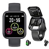 2-in-1 Fitness Tracker Smart Watch + Bluetooth Earphones - Hearth Rate Monitor / Blood Pressure / Blood Oxygen Monitoring SPO2 / True Wireless Earphones