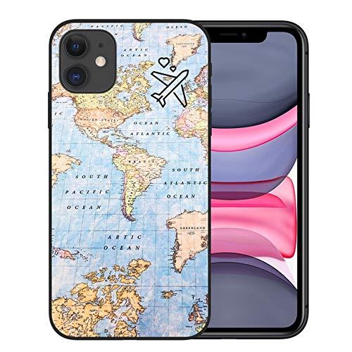VHR Fundas World Map Travel Just Go Soft Fundas De Teléfono TPU para iPhone 11 Pro XS MAX X XR 7 8 Plus 6S Plane Cover para iPhone 12 Pro MAX para iPhone X XS Black-A4284