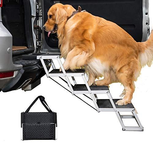 By Unbranded Escaleras de aluminio para perro, escalón portátil grande para camas altas, camiones y SUV, ligera y plegable para mascotas, 4 pasos