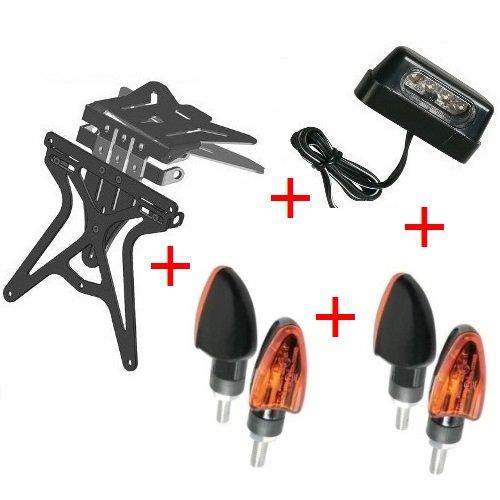 Kit support de plaque d'immatriculation pour moto universel + 4 Flèches à ampoule + lumière plaque d'immatriculation homologué Lampa Ducati 888 SP 5 1992 – 1993